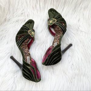Steve Madden Scorch green velvet jeweled heels 6.5